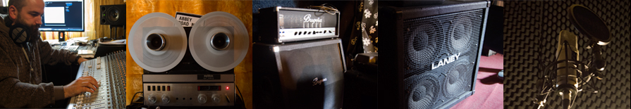 Cett hangstúdió hangfelvétel keverőpult szalagos magnó gitár erősítő basszus láda mikrofon